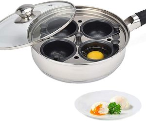 Egg Poacher Pan-Stainless Steel with 4 Large Egg Poacher Cups